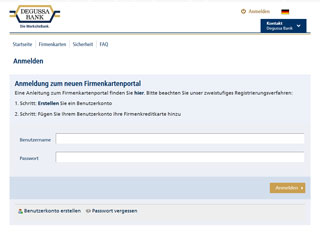 get my invoice from Degussa Bank Firmenkartenportal (Banking and financial services)